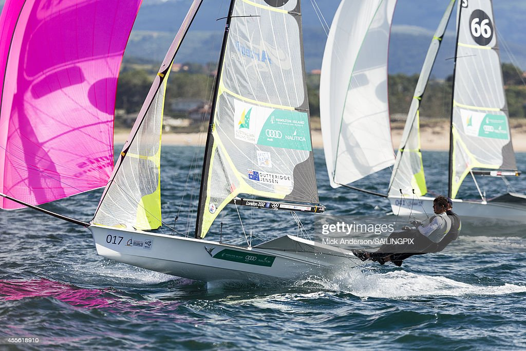 49er - AUS5 - Nathan Outteridge / Iain Jensen in action during Day 6 of the 2014 ISAF Sailing World Championships on September 17, 2014 in Santander, Spain.