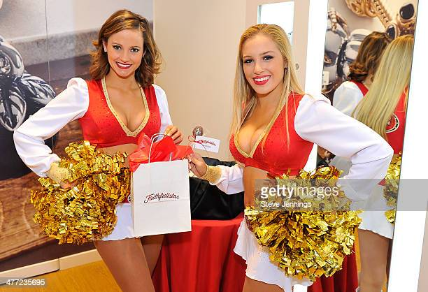 49er Cheerleaders attend the San Francisco 49ers 'Faithfulistas' Exclusive Event at the PANDORA Jewelry Store on March 7 2014 in San Mateo California