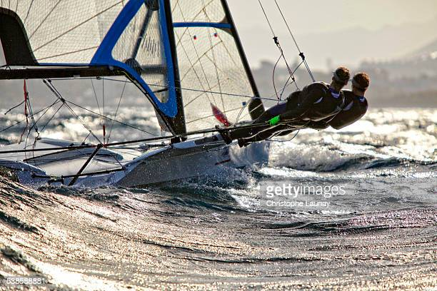 49erFX pair training during a sunny and windy day in Marseille, France.