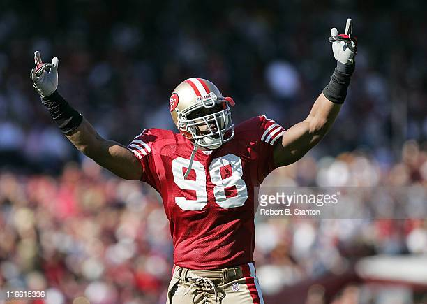 49ers linebacker Julian Peterson rallies the crowd as the San Francisco 49ers defeated the Tampa Bay Buccaneers by a score of 15 to 10 at Monster...