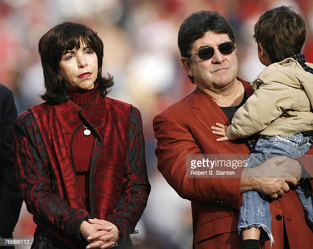 49ers owner Denise Debartolo York and brother Eddie Debartolo at halftime ceremony as the San Francisco 49ers defeated the Seattle Seahawks by a...