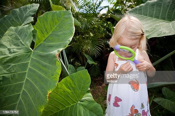 4-jaehriges maedchen erforscht umwelt mit einem vergroesserungsglas - umwelt stockfoto's en -beelden