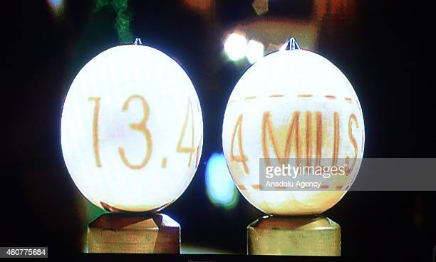 4millioneuro lottery ball is displayed to press members and audiences during the Spanish Christmas Lottery draw at Madrid's Royal Theatre Spain on...