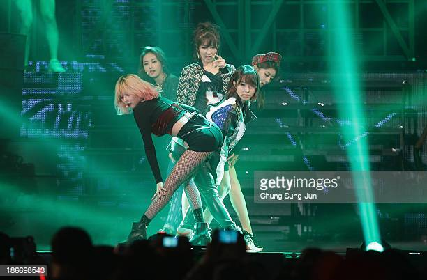 4Minute perform on stage during Youtube Music Awards 2013 at Kintex Hall on November 3, 2013 in Seoul, South Korea.