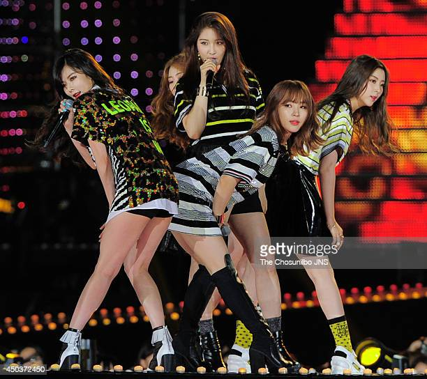 4minute perform onstage during the 2014 Dream Concert at Seoul World Cup Stadium on June 7 2014 in Seoul South Korea