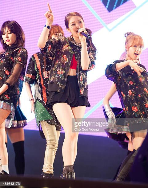 4minute perform onstage during their mini album '4MINUTE WORLD' showcase at Lotte World on March 17 2014 in Seoul South Korea