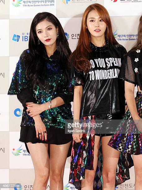 4minute pose for photographs during the 2014 Incheon Kpop Concert at International Business District on September 17 2014 in Incheon South Korea