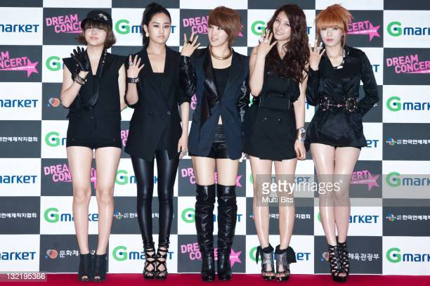 4minute pose for photographs upon arrival during the 2010 Dream Concert at Sangam Worldcup Stadium on May 22 2010 in Seoul South Korea