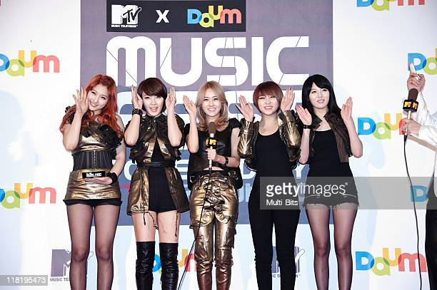4minute pose for photographs upon arrival during the MTV Daum Music Fest at Korea University Hwa Jung gymnasium on February 19 2011 in Seoul South...