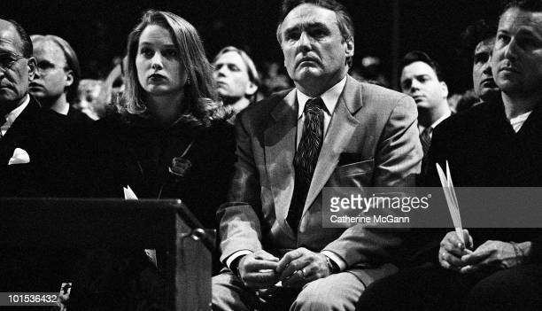 American actor and filmmaker Dennis Hopper center with future wife Victoria Duffy at the memorial service for artist Keith Haring held at the...