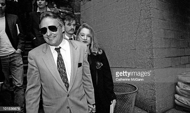 American actor and filmmaker Dennis Hopper left with future wife Victoria Duffy at the memorial service for artist Keith Haring held at the Cathedral...