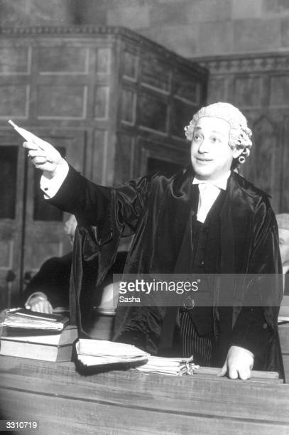Barrister makes a point forcefully, in a scene from the play 'Libel', at the Playhouse Theatre.