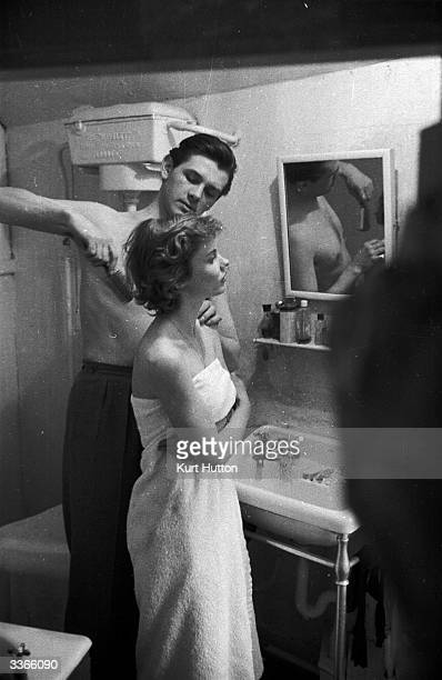 British actors Lawrence Ward and Susan Stephen in the bathroom of their country cottage shortly after their marriage Original Publication Picture...