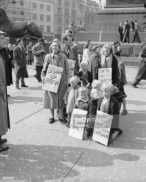 Mr and Mrs C Baker and family of Cambridge take part in a march from Trafalgar Square to Aldermanston Atomic Weapons Research Establishment in...