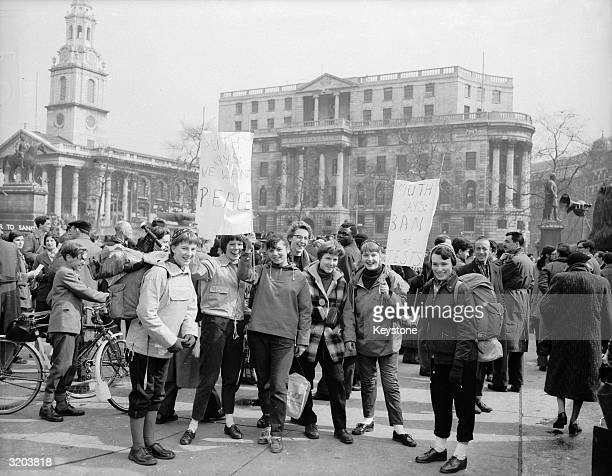 Teenagers from Parliament Hill School for Girls take part in a march from Trafalgar Square to Aldermanston Atomic Weapons Research Establishment in...