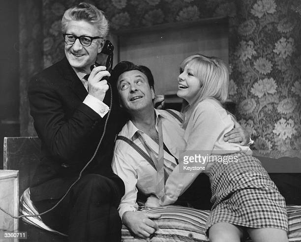 Jon Pertwee Donald Sinden and Barbara Ferris rehearsing a scene from 'There's A Girl In My Soup' before it opens a British tour