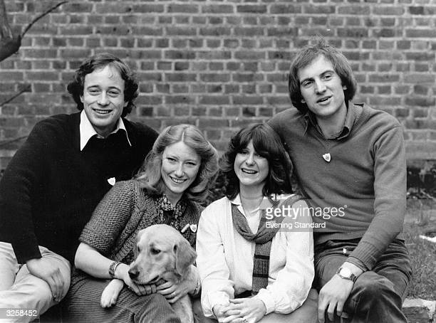 Christopher Wenner Lesley Judd 'Goldie' the dog Tina Heath and Simon Groom the team from the childrens TV series 'Blue Peter'