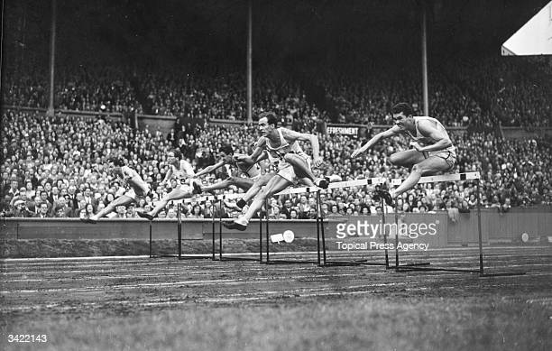 110 metres hurdles final at the 1948 London Olympics Wembley Stadium which was won by William Porter