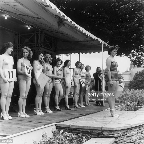 Contestants in the Douglas Bathing Beauty Competition on the Isle of Man with the winner Jean Stansfield Original Publication Picture Post 5375...