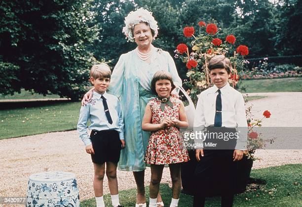 The Queen Mother celebrates her 70th birthday with three of her grandchildren Prince Edward Lady Sarah ArmstrongJones and David Viscount Linley