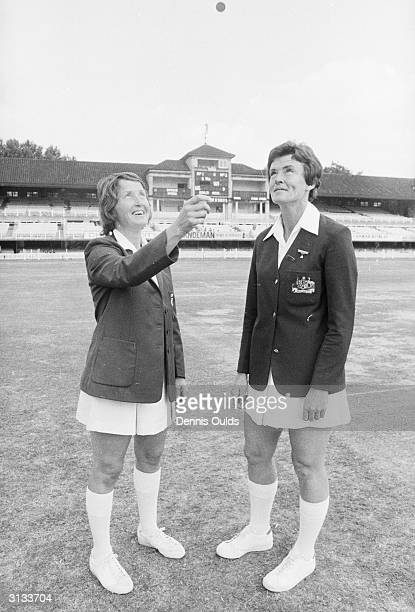 Rachel HeyhoeFlint the captain of the English Women's cricket team with her Australian counterpart D A Gordon tossing up before the first ever...
