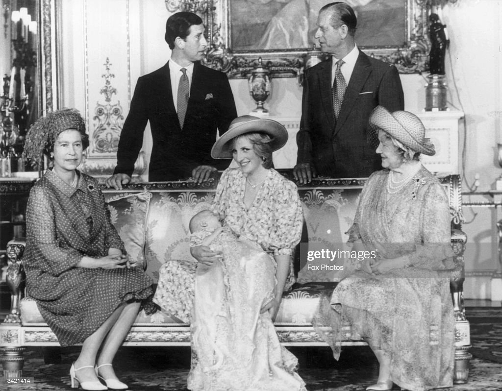 Diana, Princess of Wales (1961 - 1997) holding her son Prince William with Charles, Prince of Wales (left), Prince Philip the Duke of Edinburgh, Queen Elizabeth II (left) and Queen Elizabeth the Queen Mother (1900 - 2002) at Buckingham Palalce after Prince William's christening ceremony.