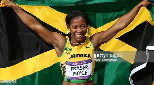 4th August 2012 London 2012 Olympic Games Athletics Women's 100m Final ShellyAnn FraserPryce celebrates victory
