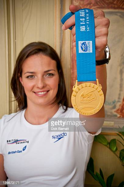 British swimmer KeriAnne Payne posed with her 2011 World Championship gold medal at the Charlotte Street hotel in London on 4th August 2011
