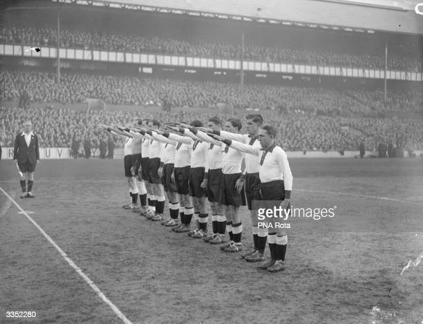 The German football team give the Nazi salute at White Hart Lane Tottenham London before playing England who went on to win 30