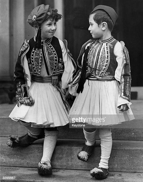 Two little boys in national costume who will be representing Greece at the Allied Fair in aid of the Red Cross at the Dorchester Hotel London