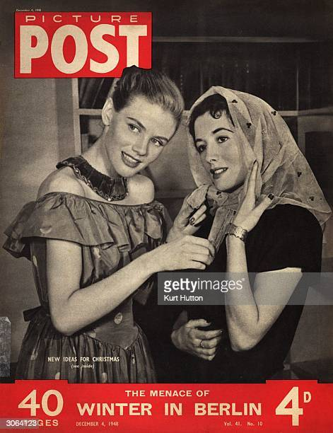 Two women modelling ideas for simple homemade Christmas presents One wears a fitted velvet collar and the other a dyed net scarf dotted with sequins...