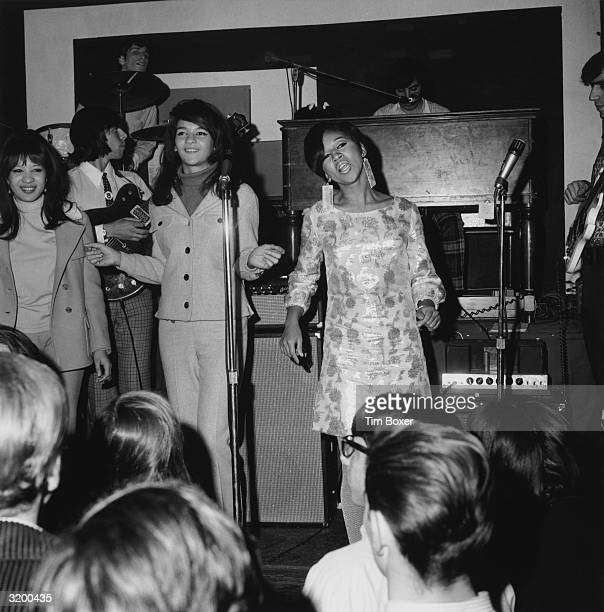 American rock and roll group The Ronettes performing on stage during a 'Freakout' party at the Action House disco Island Park Long Island New York