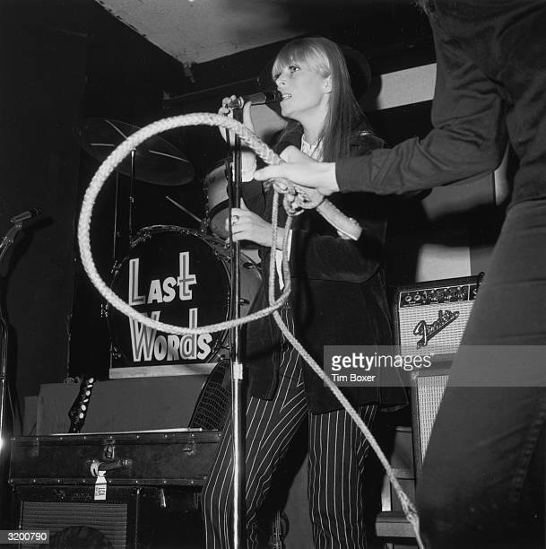Nico German actress model singer performs with The Velvet Underground at a 'Freakout' party Action House disco Island Park Long Island New York The...
