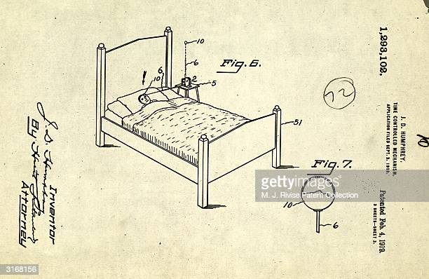 J D Humphrey's design for an alarm clock which wakes the sleeper with a blow to the forehead from a pivoted antennae released by the clock mechanism...