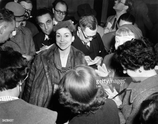 Prime ballerina Dame Margot Fonteyn announces her engagement to Dr Roberto Arias at a press conference