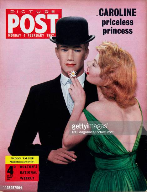 French author and actress Nadine Tallier embracing a suited mannequin for the cover of Picture Post magazine. Original Publication: Picture Post...