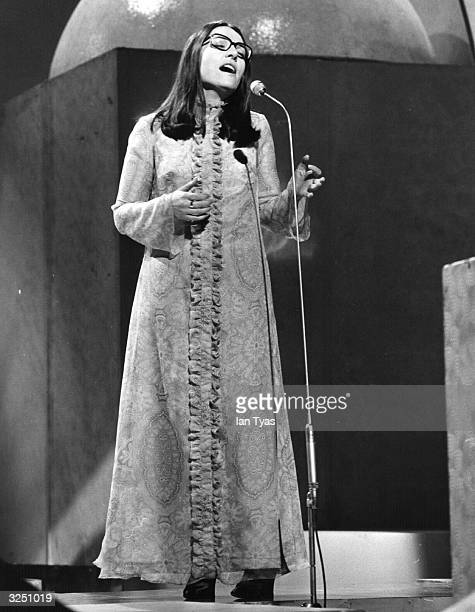 Nana Mouskouri the Greek pop singer, singing in her native Greece.