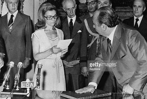 Argentinian president Isabel de Peron nee Maria Estela Martinez at the oath taking ceremony for the new cabinet in Buenos Aires Argentina WIth her...