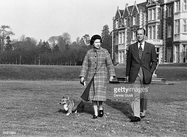 Queen Elizabeth II on the 30th anniversary of her reign with the Duke of Edinburgh on their estate at Sandringham Norfolk