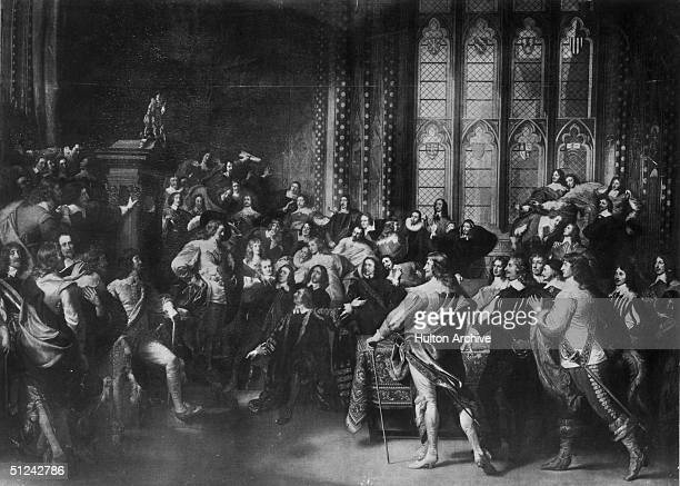 4th January 1642 King Charles I 'Demanding the Five Members in the House of Commons' This act precipitated the civil war Original Artist John...