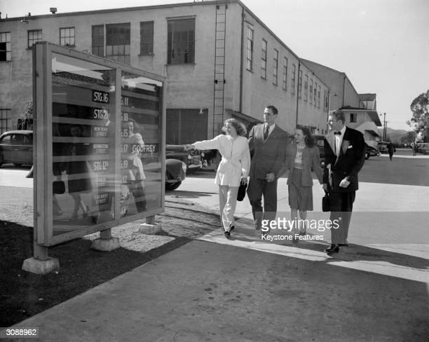 Warner Brothers starlets Wanda Hendrix John Compton Dick Walsh and Jane Hacker at the studios lot in California