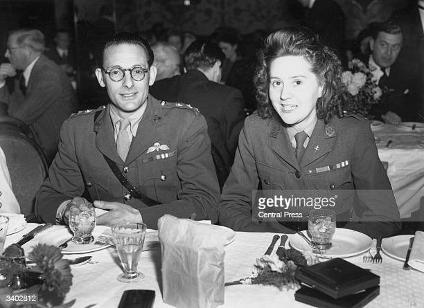 French secret agent and heroine Odette Sansom at a restaurant with her fiance Captain Peter Churchill