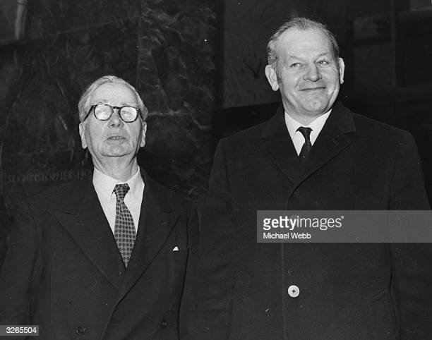 Sir John Lang and Walter WInterbottom leaving a meeting with the Minister responsible for Sport in the aftermath of the Ibrox disaster in which 66...