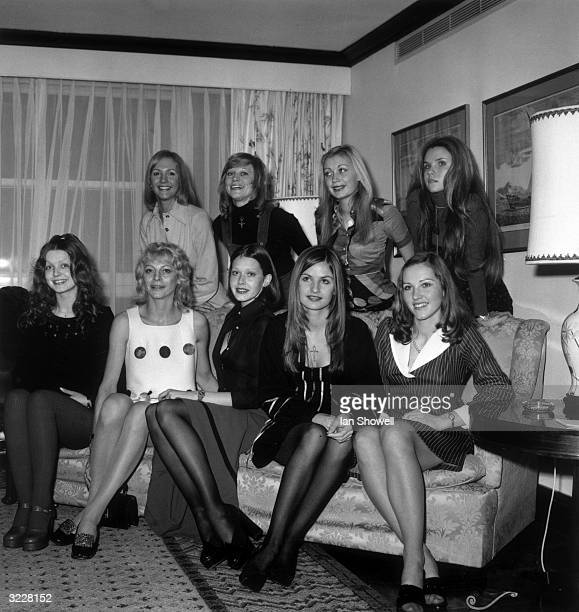 Nine contestants in the Miss TV Europe competition representing the countries of the Common Market from left to right Zoe Spink AnneMarie Godart...