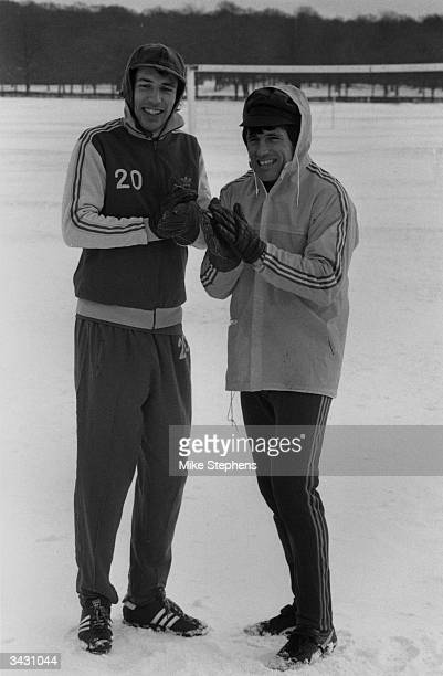 Wimbledon football club's top scorer Alan Cork and the manager Dario Gradi during a training session