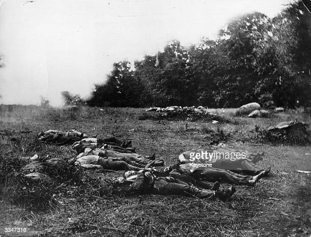 Corpses lying on the battlefield at Gettysburg in Pennsylvania after the bloodiest battle of America's Civil war in which nearly 6000 soldiers died...