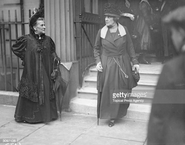 Lady Jennie Churchill the wife of Lord Randolph Churchill outside an 'At Home' by Dr Page in honour of America Day
