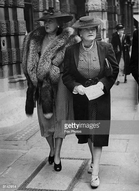 Mrs Sopwith wife of aircraft designer Thomas Sopwith with Lady Leon in London for a Red Cross sale at Christie's