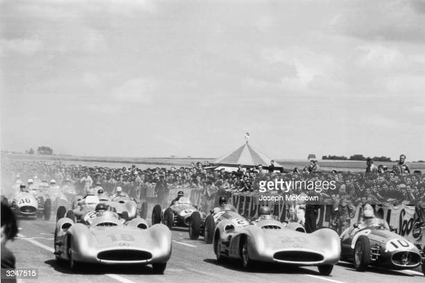 Cars on the grid at the start of the French Grand Prix at Reims The race was dominated by the German Mercedes cars number 18 driven by Juan Manuel...