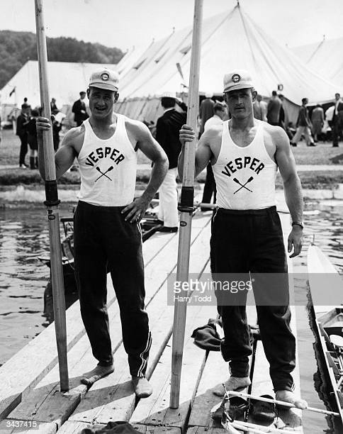 J B Amlong and his brother T K Amlong both 1st Lieutenants in the US Army pose with their oars after winning the Silver Goblets and Nickalls...